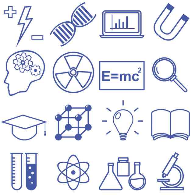 technology symbols stem tech education engineering physics chemistry knowledge skills
